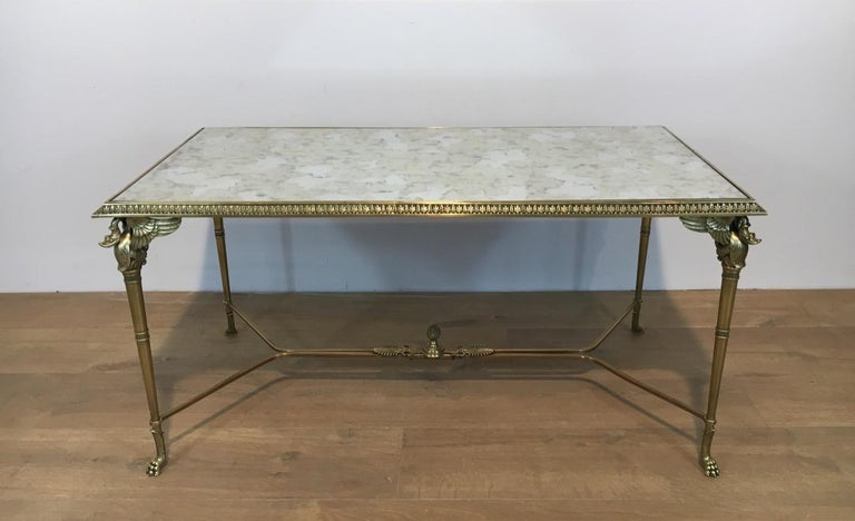 Neoclassical Bronze and Brass Coffee Table with Swanheads & Faux-Antique Mirrors In Good Condition For Sale In Marcq-en-Baroeul, FR