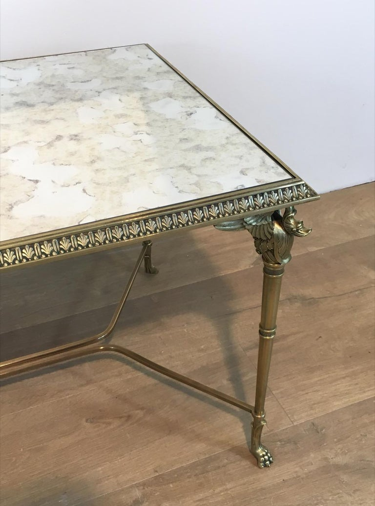 Mid-20th Century Neoclassical Bronze and Brass Coffee Table with Swanheads & Faux-Antique Mirrors For Sale
