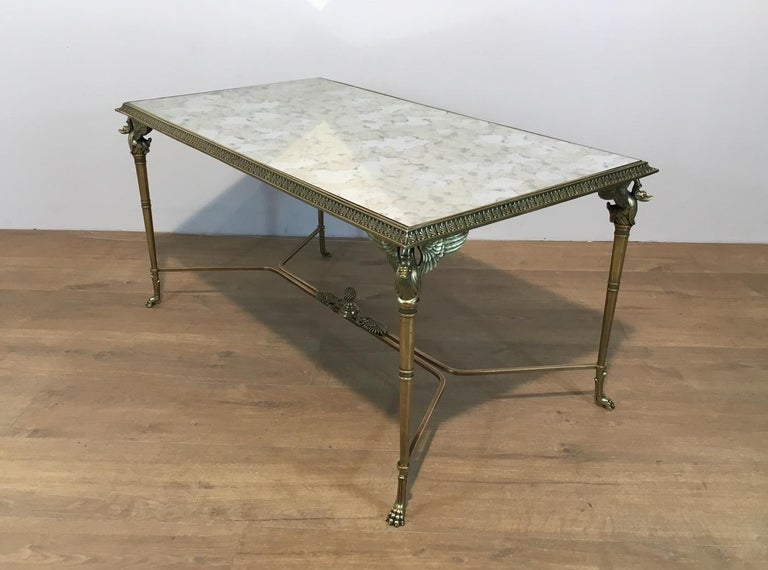 Neoclassical Bronze and Brass Coffee Table with Swanheads & Faux-Antique Mirrors For Sale 3