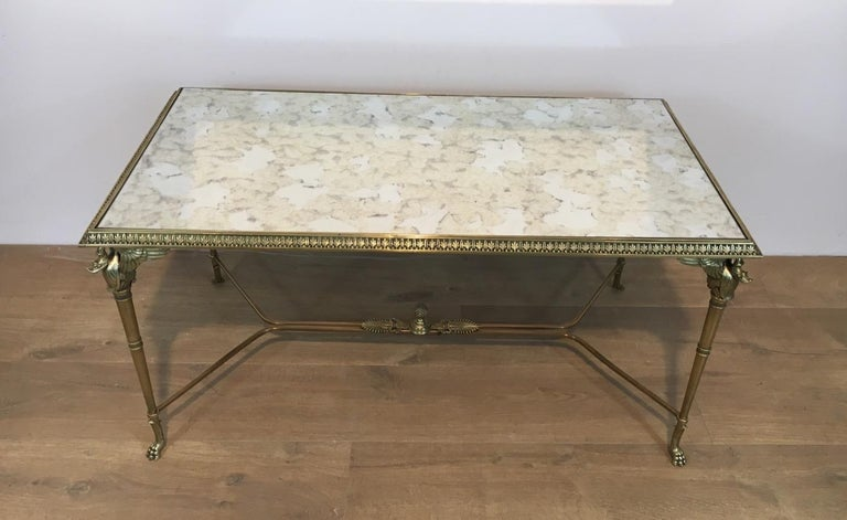 Neoclassical Bronze and Brass Coffee Table with Swanheads & Faux-Antique Mirrors For Sale 4