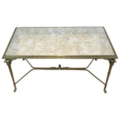 Neoclassical Bronze and Brass Coffee Table with Swanheads