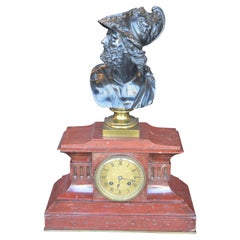 Neoclassical Bronze and Rouge Marble Mantel Clock