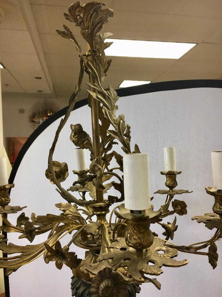 Neoclassical Bronze Candelabra Floor Lamp Torchiere Chandelier Style For Sale 8