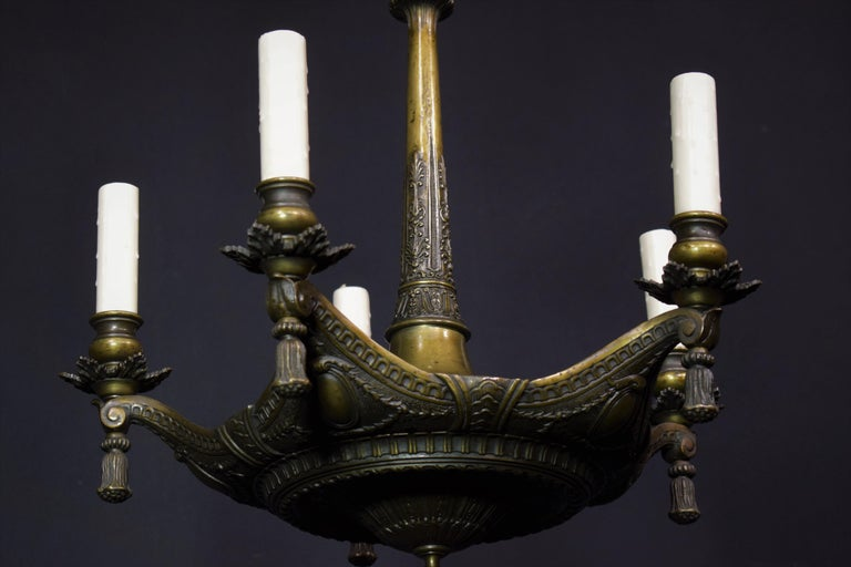 Neoclassical Bronze Chandelier For Sale 7