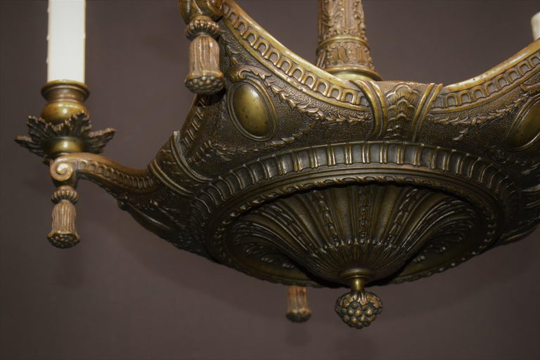 Neoclassical Bronze Chandelier For Sale 8