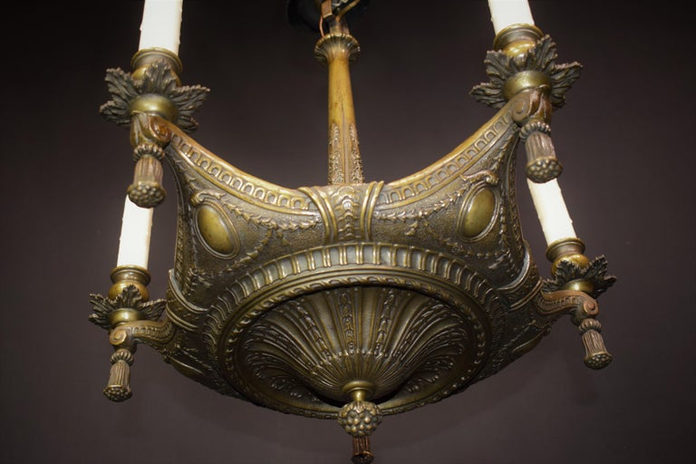 French Neoclassical Bronze Chandelier For Sale