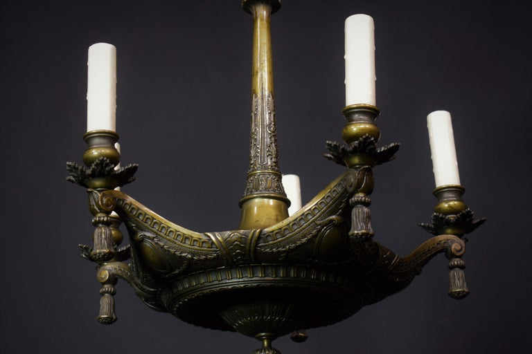 Neoclassical Bronze Chandelier For Sale 1