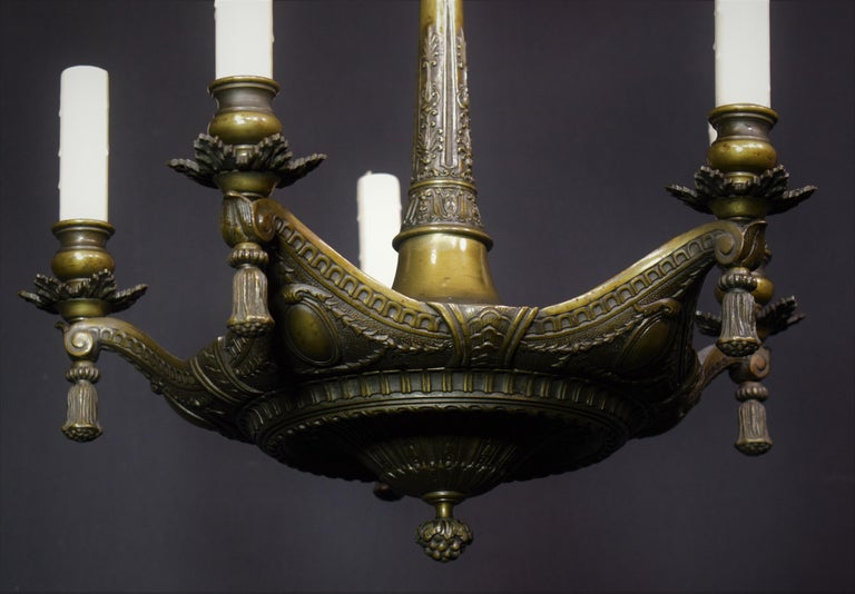 Neoclassical Bronze Chandelier For Sale 2