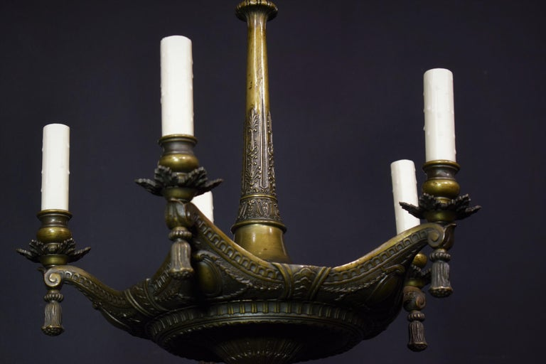 Neoclassical Bronze Chandelier For Sale 4