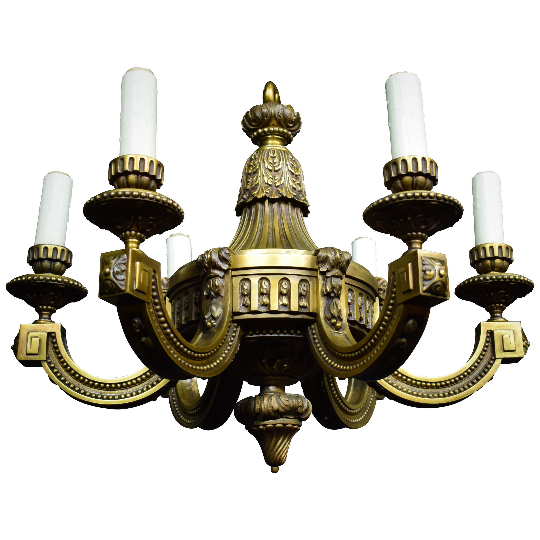 Neoclassical Bronze Chandelier
