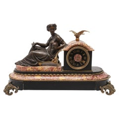 Neoclassical Bronze Mantel Clock with Astronomy Allegory