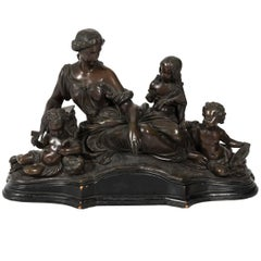 """Neoclassical Bronze Statue """"Allegory On Art"""""""