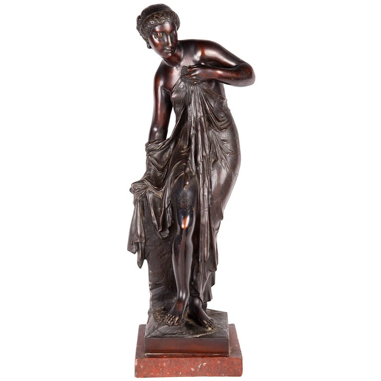 Neoclassical Bronze Statue of a Maiden by Machault