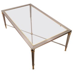 Neoclassical Brushed Steel and Brass Coffee Table, circa 1970