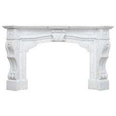 Neoclassical Carrara Marble White Antique Fireplace
