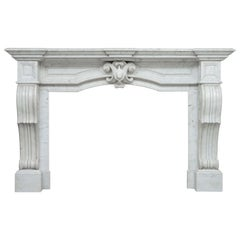 Neoclassical Carrara White Marble Antique Fireplace