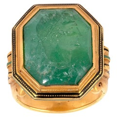 Neoclassical Carved Emerald Intaglio Ring