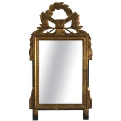 Neoclassical Carved Giltwood Mirror with Hearts and Arrows