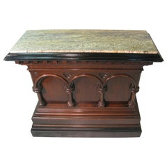 Neoclassical Carved Gothic Oak Bar with Marble Top