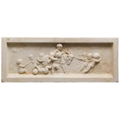 Neoclassical Carved Marble Bas-Relief Architectural Plaque with Cherubs