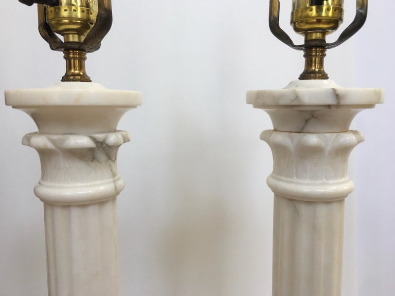Neoclassical Carved Marble Column Table Lamps, Pair For Sale 6
