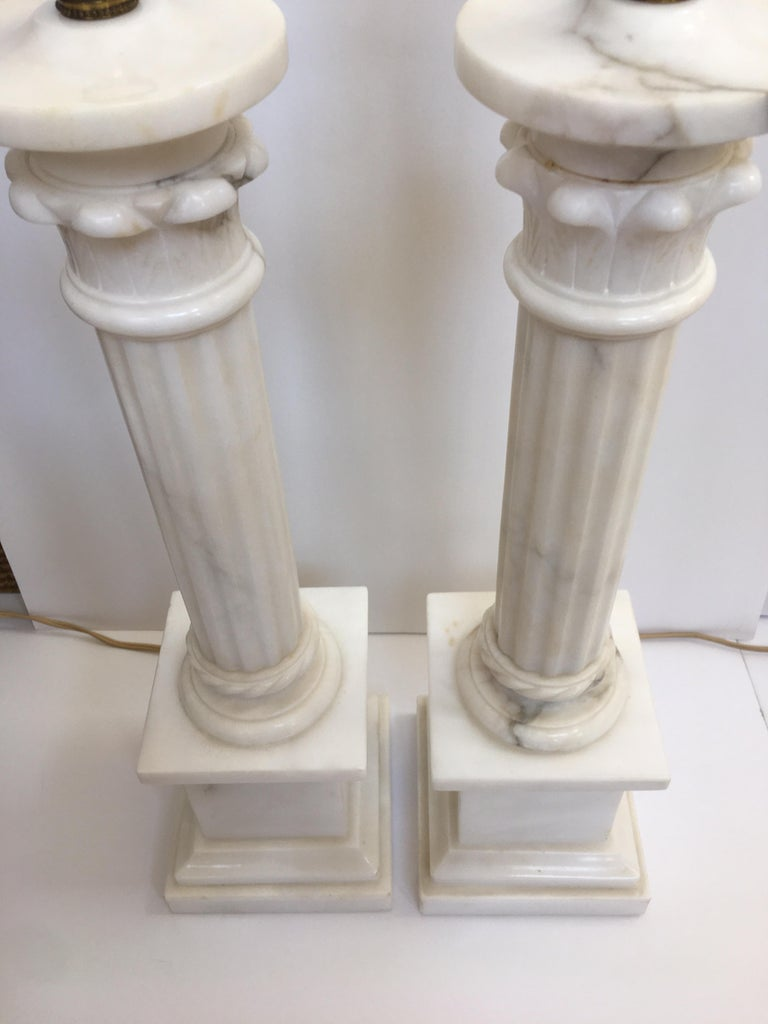 Neoclassical Carved Marble Column Table Lamps, Pair For Sale 7