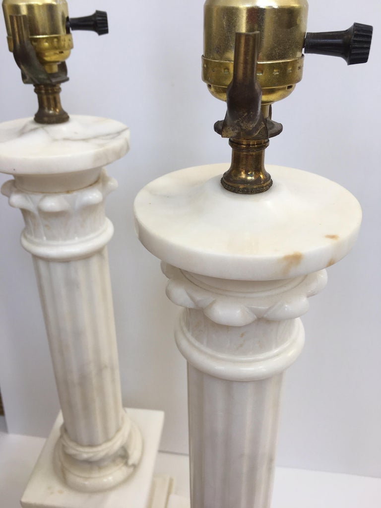 Neoclassical Carved Marble Column Table Lamps, Pair For Sale 9