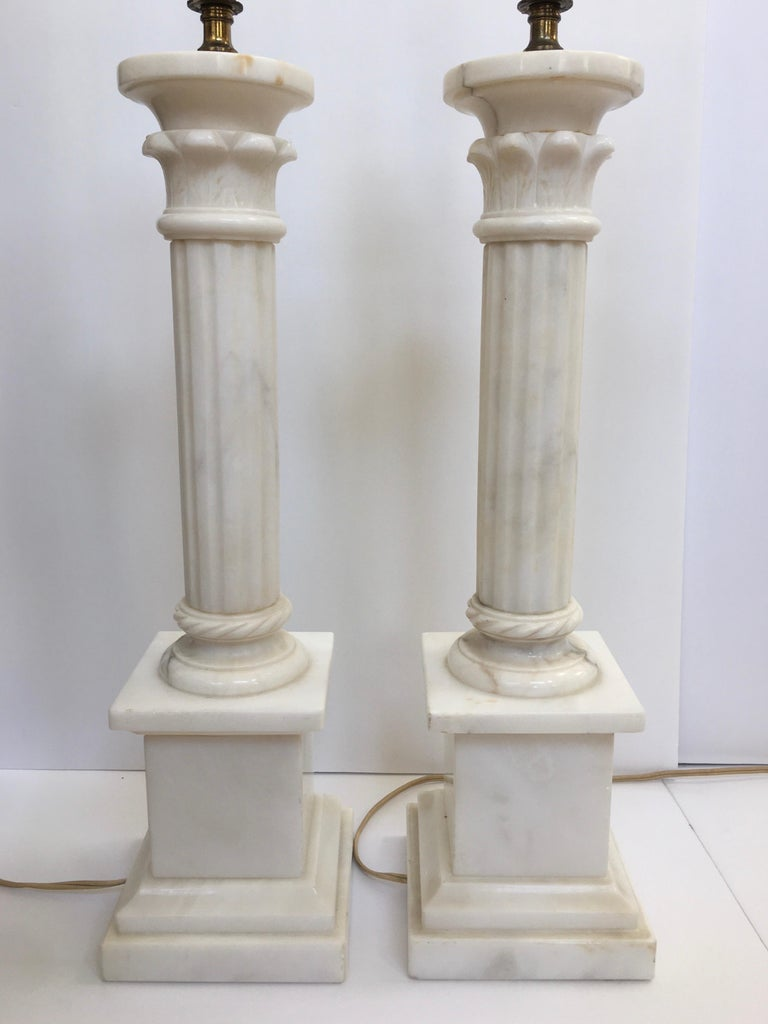 Neoclassical Carved Marble Column Table Lamps, Pair In Good Condition For Sale In Lambertville, NJ