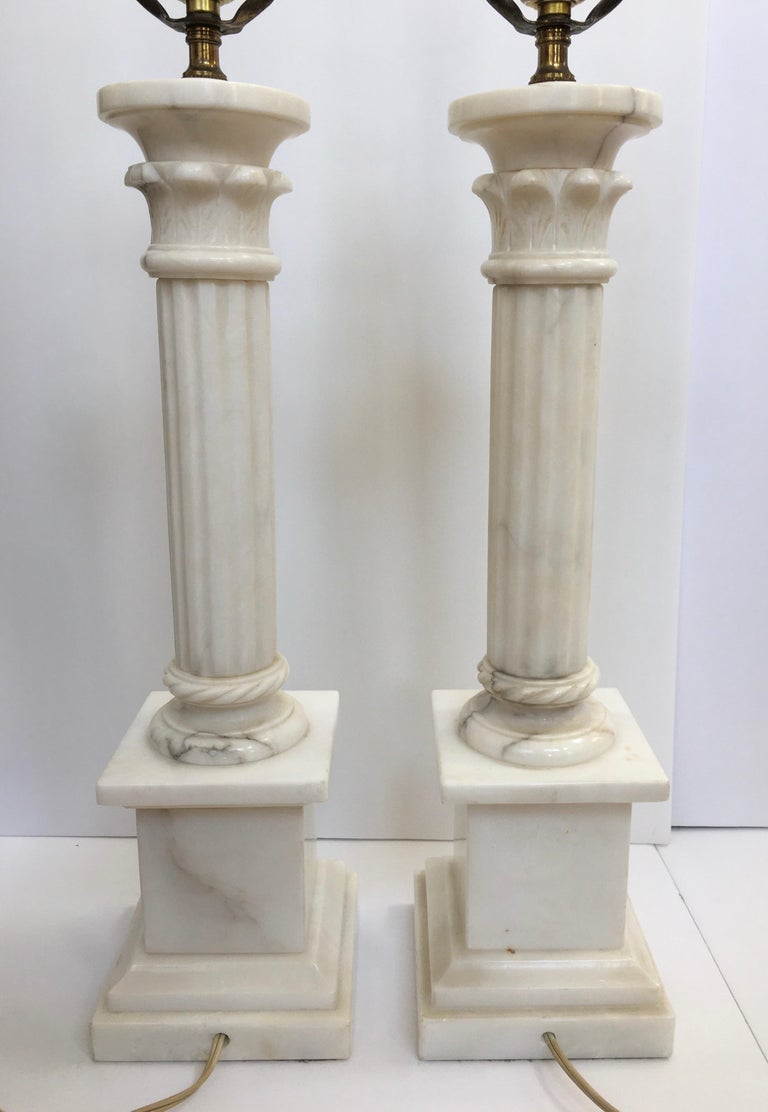 20th Century Neoclassical Carved Marble Column Table Lamps, Pair For Sale