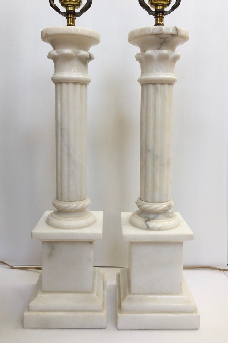 Neoclassical Carved Marble Column Table Lamps, Pair For Sale 1