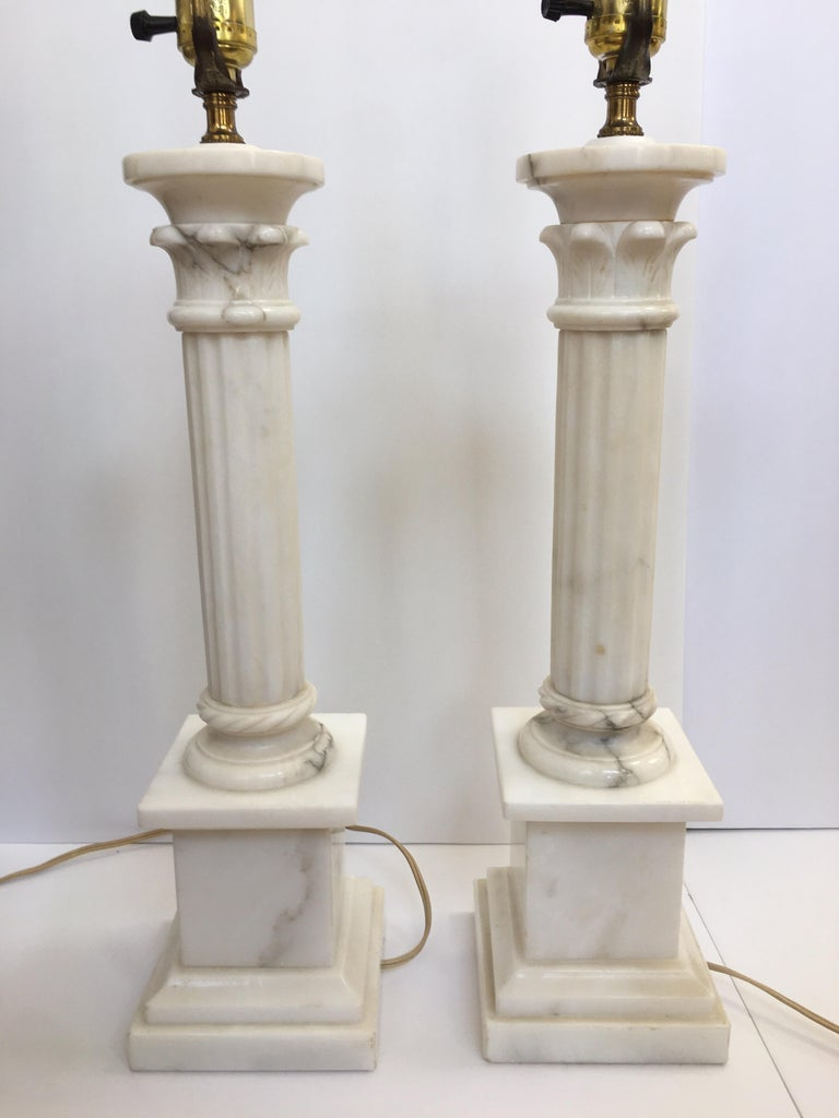 Neoclassical Carved Marble Column Table Lamps, Pair For Sale 2