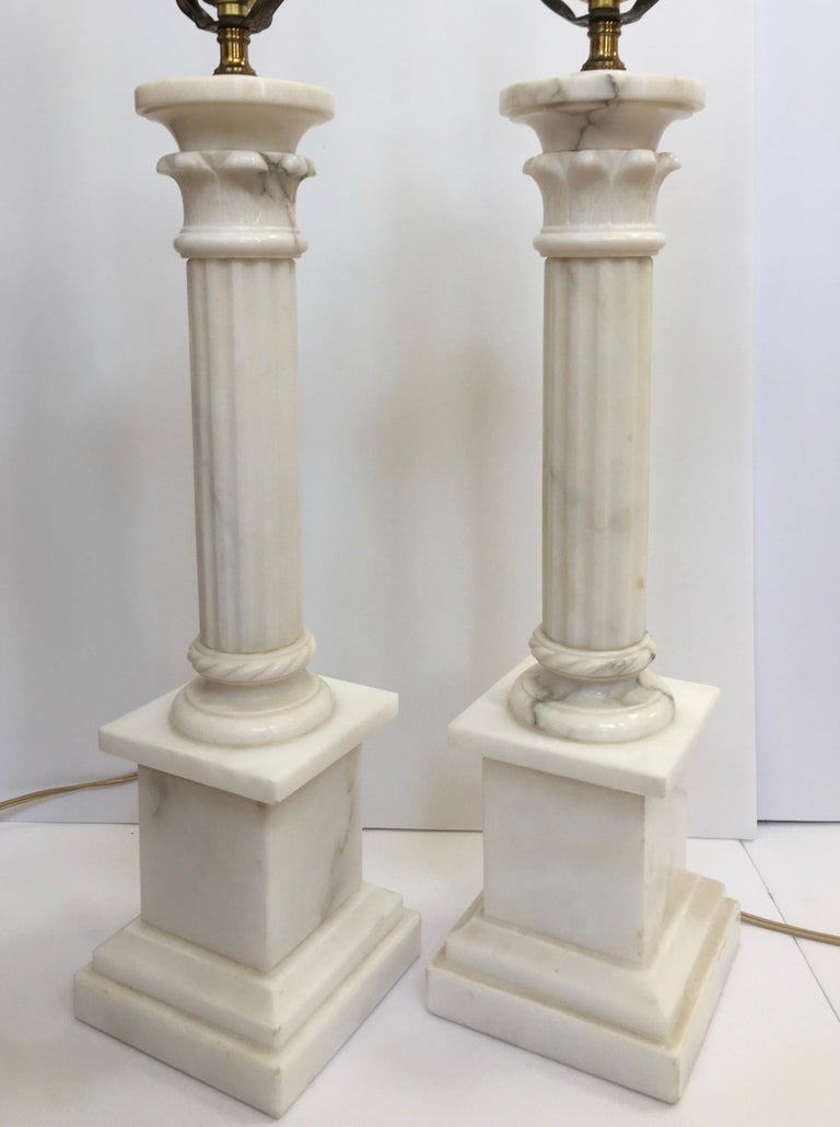 Neoclassical Carved Marble Column Table Lamps, Pair For Sale 3