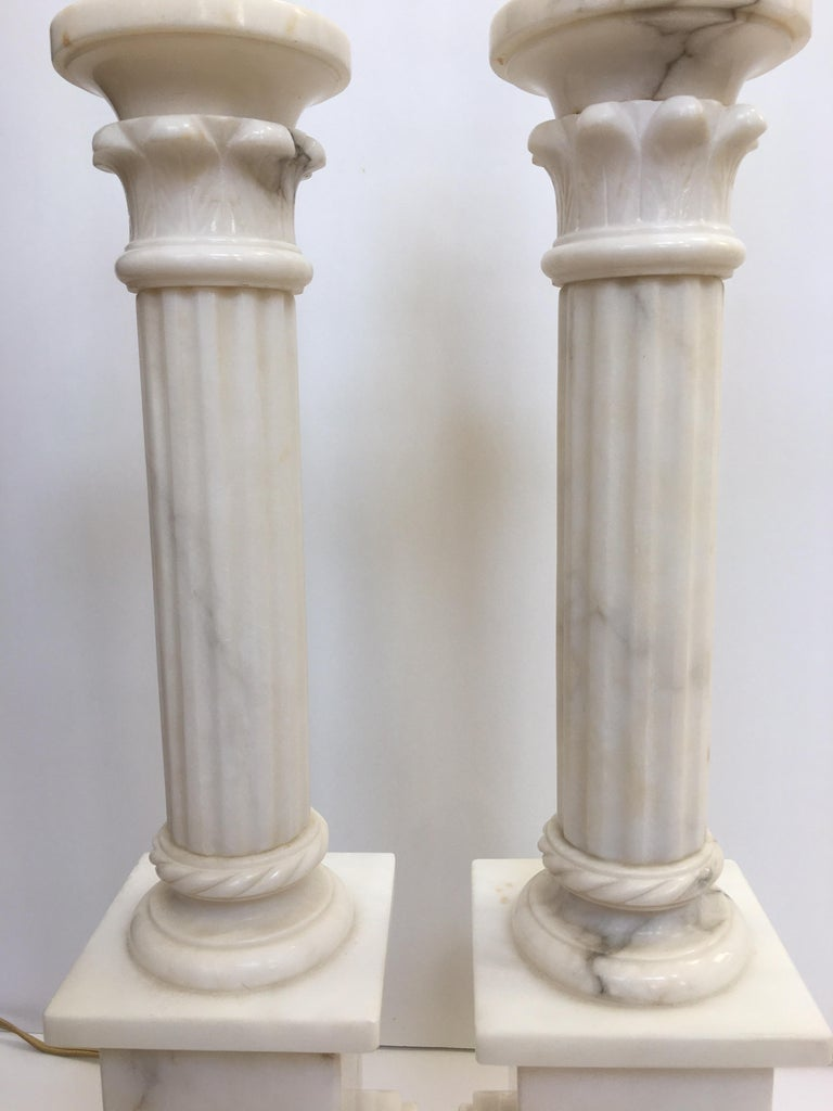 Neoclassical Carved Marble Column Table Lamps, Pair For Sale 4