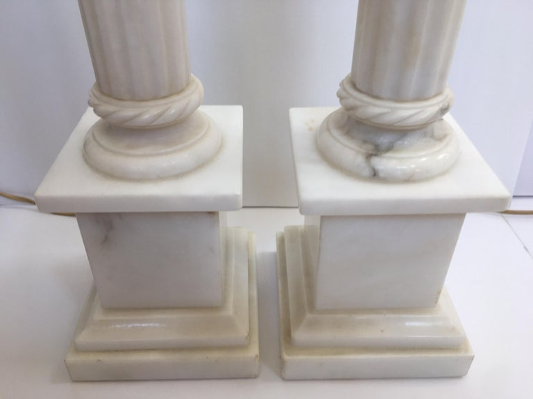 Neoclassical Carved Marble Column Table Lamps, Pair For Sale 5