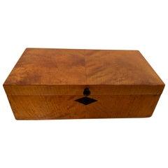 Neoclassical Casket Box, Birch Veneer, French Polish, North Germany 19th Century