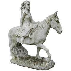 Neoclassical Cast Stone Equestrian Statue, circa 1950