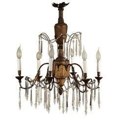 Neoclassical Chandelier, Carved Wood and Wrought Iron, Italy, 18th Century