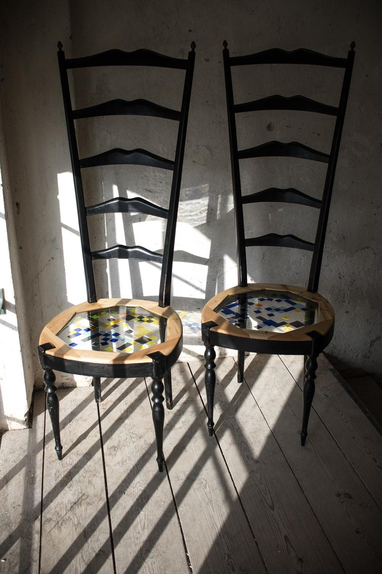Neoclassical Couple of Tall Chairs in Wood, Transparent Resin and Colored Tiles For Sale 5
