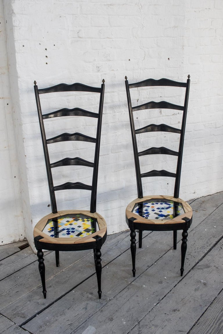 Italian Neoclassical Couple of Tall Chairs in Wood, Transparent Resin and Colored Tiles For Sale