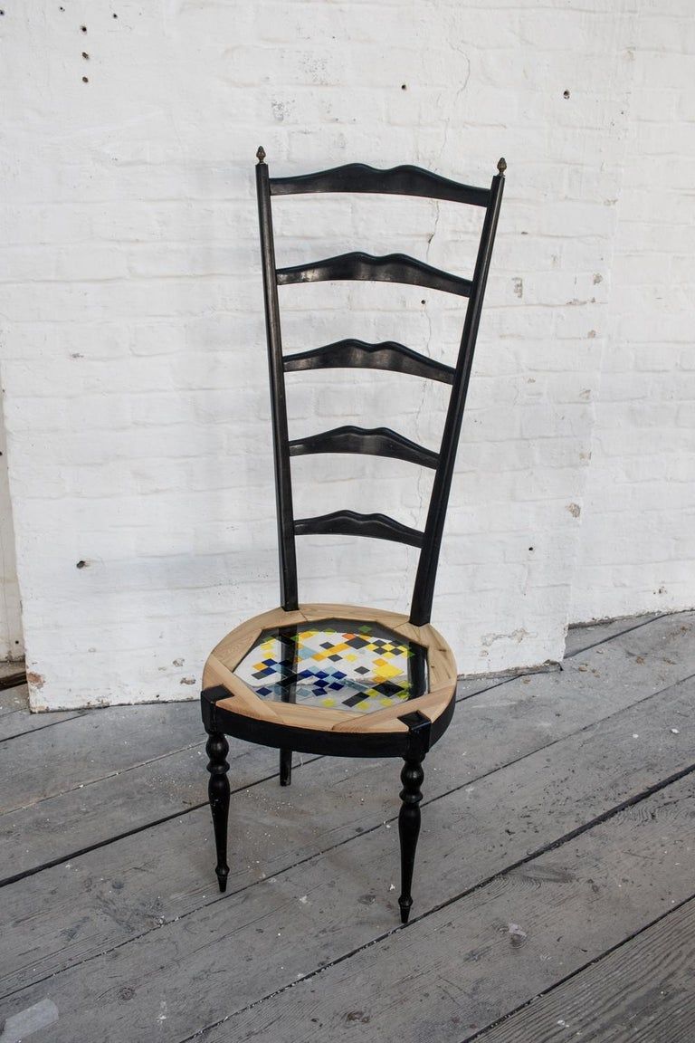 Neoclassical Couple of Tall Chairs in Wood, Transparent Resin and Colored Tiles 4