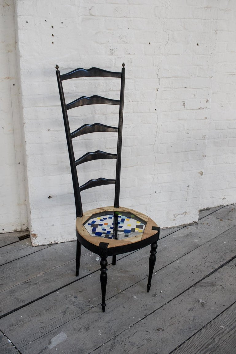 Neoclassical Couple of Tall Chairs in Wood, Transparent Resin and Colored Tiles For Sale 2