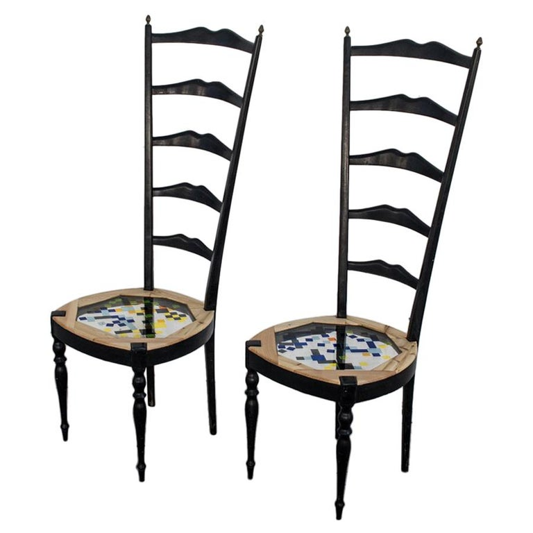 Neoclassical Couple of Tall Chairs in Wood, Transparent Resin and Colored Tiles For Sale