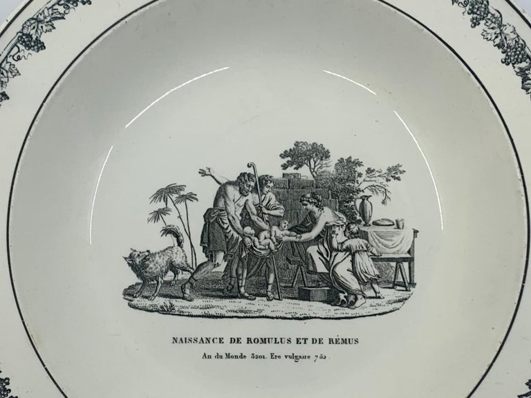Neoclassical Creil creamware plate. Antique black and white soup plate