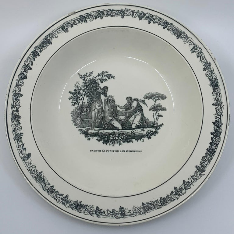French Cupid Neoclassical Creil Creamware Plate For Sale