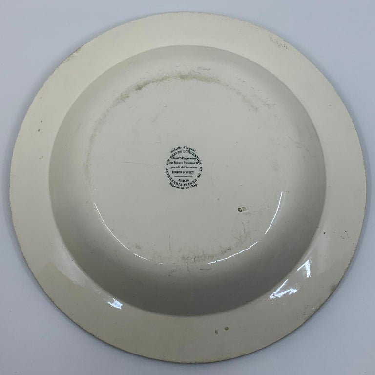 Cupid Neoclassical Creil Creamware Plate In Good Condition For Sale In New York, NY