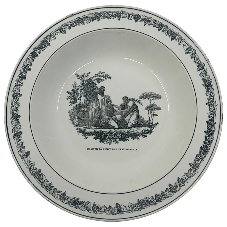 Cupid Neoclassical Creil Creamware Plate For Sale