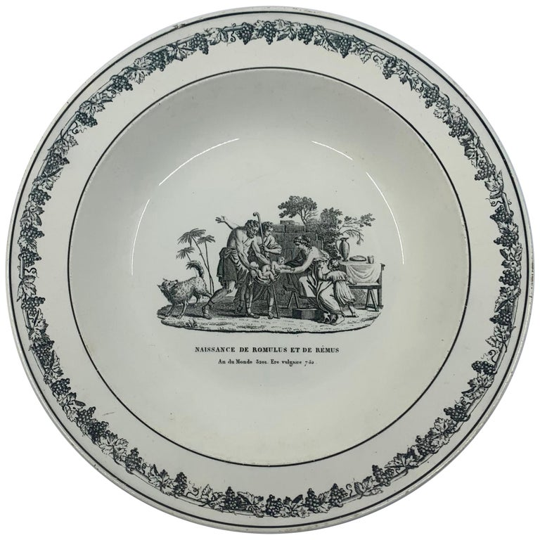 Neoclassical Creil Creamware Plate For Sale