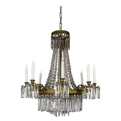 Neoclassical Crystal Tent 8-Arm Candle Chandelier with Interior Lights