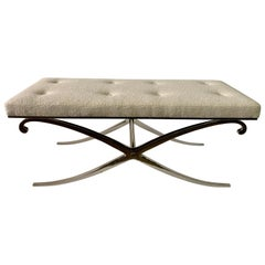 Neoclassical Design X Bench with Bouclé Fabric Seat