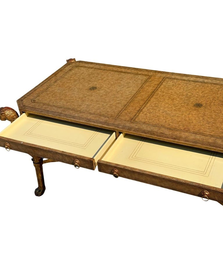 Neoclassical Desk by Maitland Smith in Leather and Gilt Wrought Iron, Lion Head For Sale 3